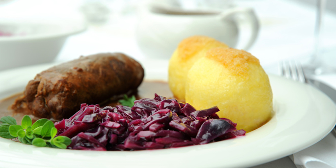 Beef Rouladen with red cabbage and potato dumplings